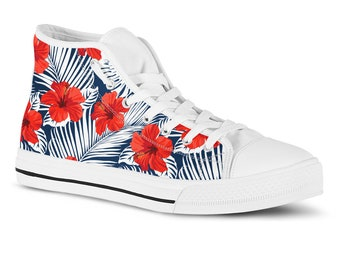 c8956da7057 Floral High Top Sneakers Tropical Hibiscus Hawaiian Print Hi Tops Summer  Holiday Vacation Birthday Gift Fashion Shoes Casual Shoes Gym Shoes