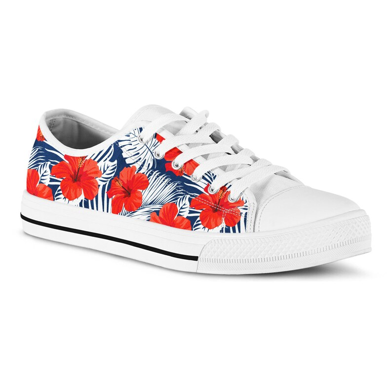 627100f17e Tropical Hibiscus Floral Sneakers Summer Tennis Shoes Vacation