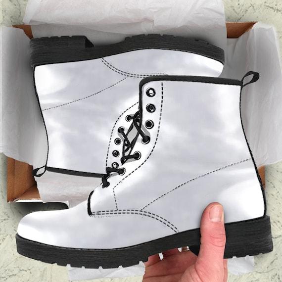 White vegan leather combat boots | Etsy
