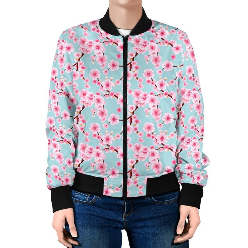 Japanese cherry blossom bomber jacket unisex
