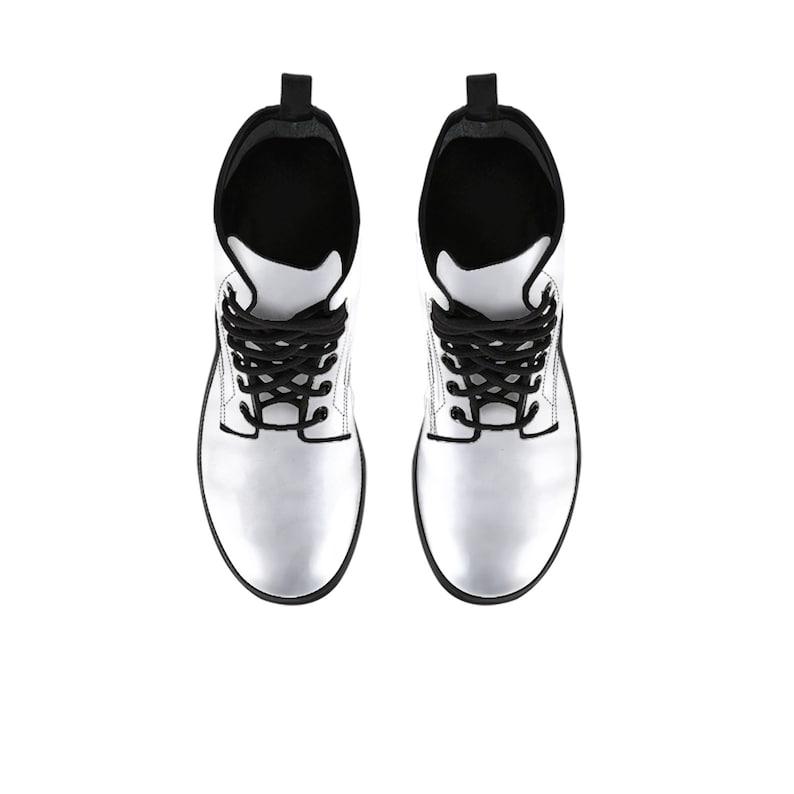White vegan leather combat boots