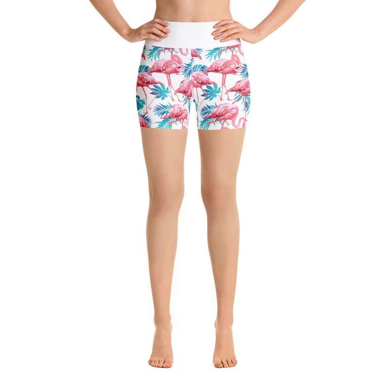 aa442eb71df42 Flamingo Yoga Shorts Cycling Shorts Athletic Shorts Workout | Etsy
