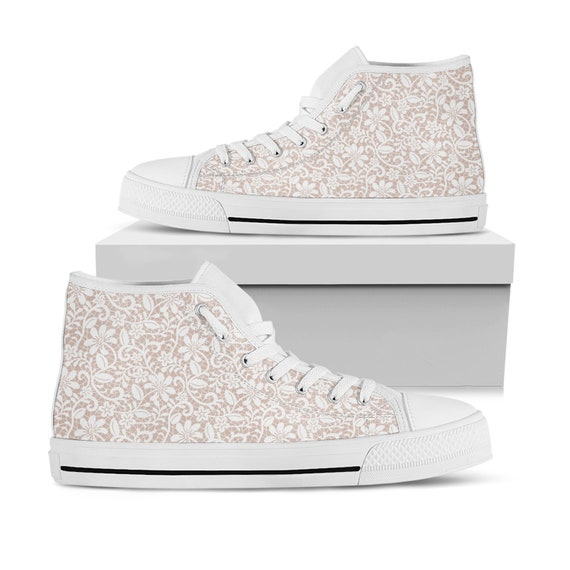 White lace bridal sneakers wedding sneakers   Etsy