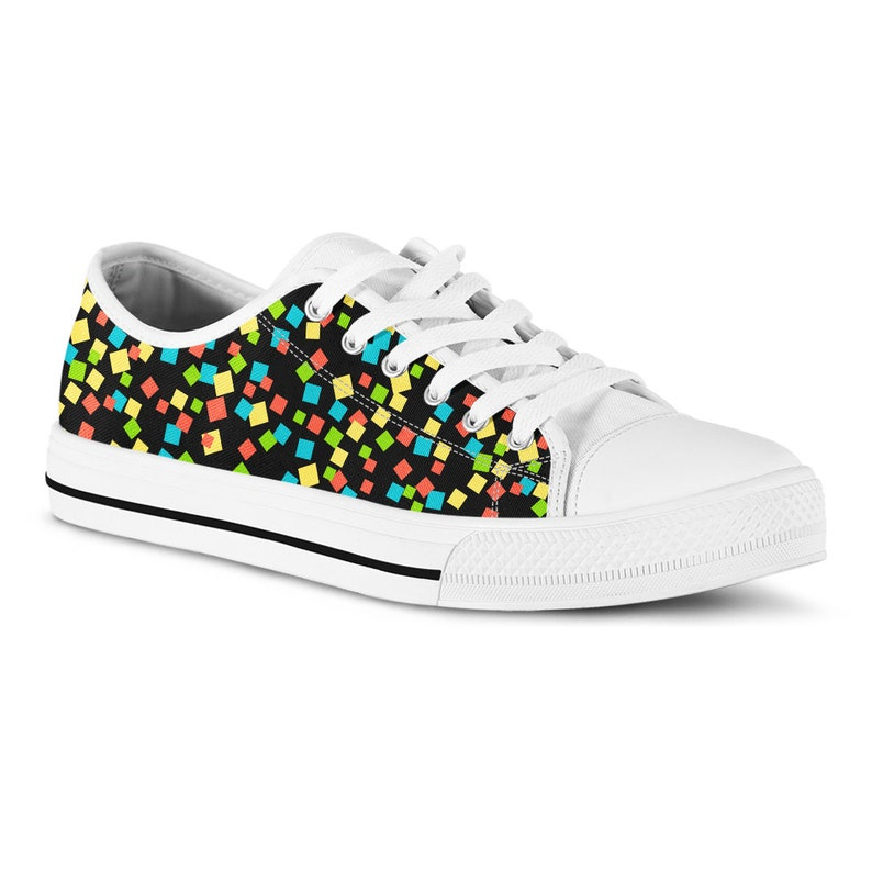 4be7082aebc32 Sneakers Confetti Print Canvas Shoes Tennis Shoes Gift for Her Black  Sneakers Custom Shoes Vegan Shoes Colorful Fashion Birthday Gift