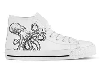 Custom Sneakers Vegan Shoes Octopus Print High Top Sneakers Hi Tops Canvas Sneakers Birthday Gift Shoe Art