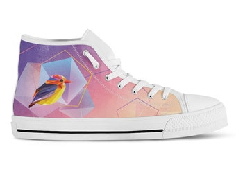 High Top Sneakers Geometric Bird Print Canvas Hi Tops Custom Sneakers Vegan Shoes Birthday Gift Purple Shoes Green Sneakers