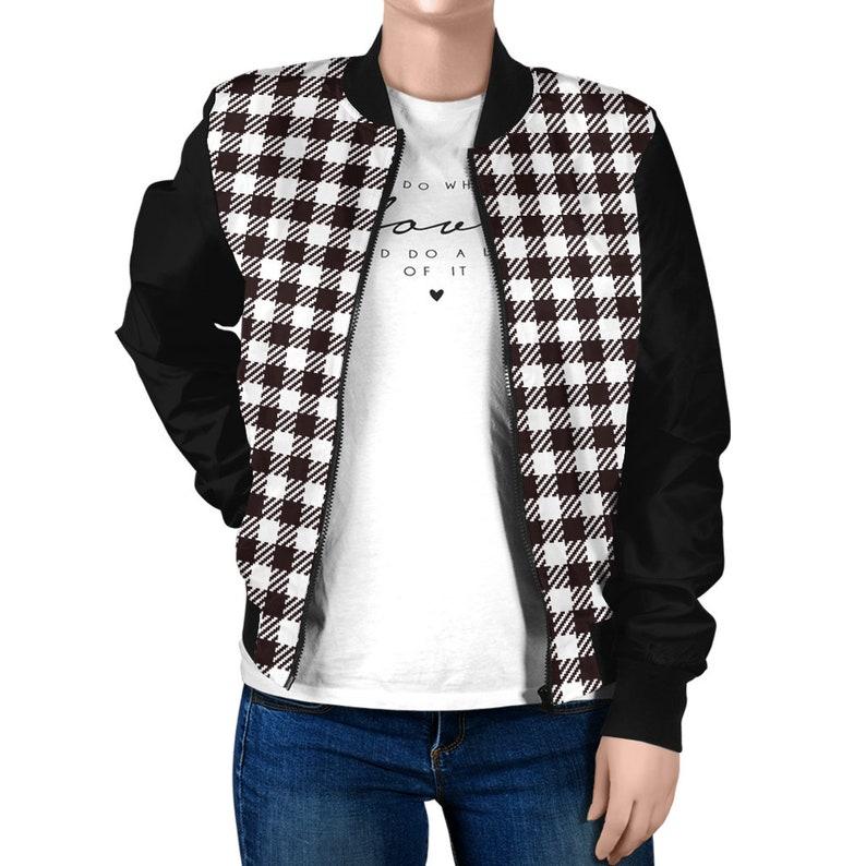 Black and white checked bomber jacket