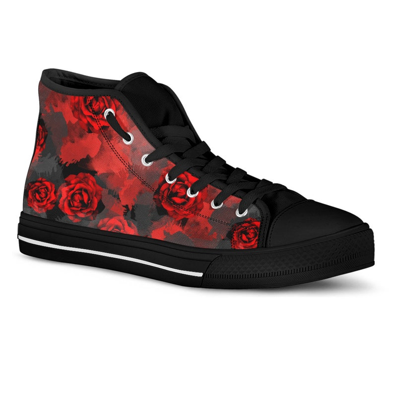 d9992905a2769d Red Rose Sneakers Hi Top Printed Canvas Custom Sneakers Floral