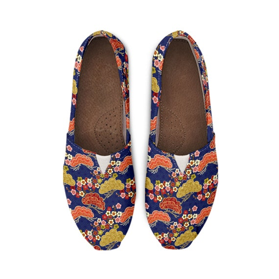 Womens Casual Canvas Flat Loafer Shoes Cherry Sakura Print