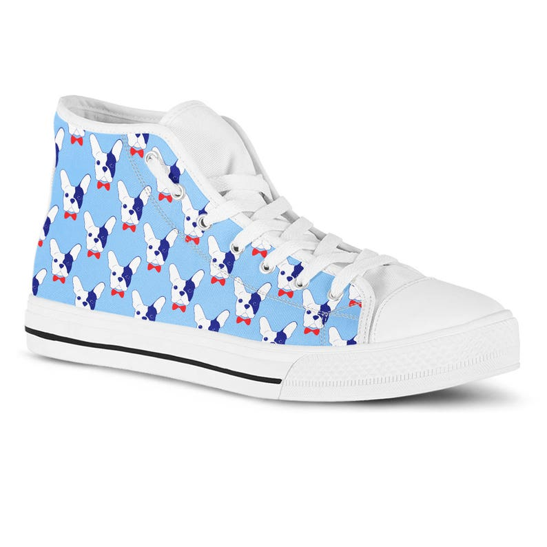 French Bulldog High Top Sneakers French Bulldog Shoes Dog Lover Gift Vet Gift Dog Groomer Shoes Rescue Dog walker Vegan Shoes Canvas Sneaker