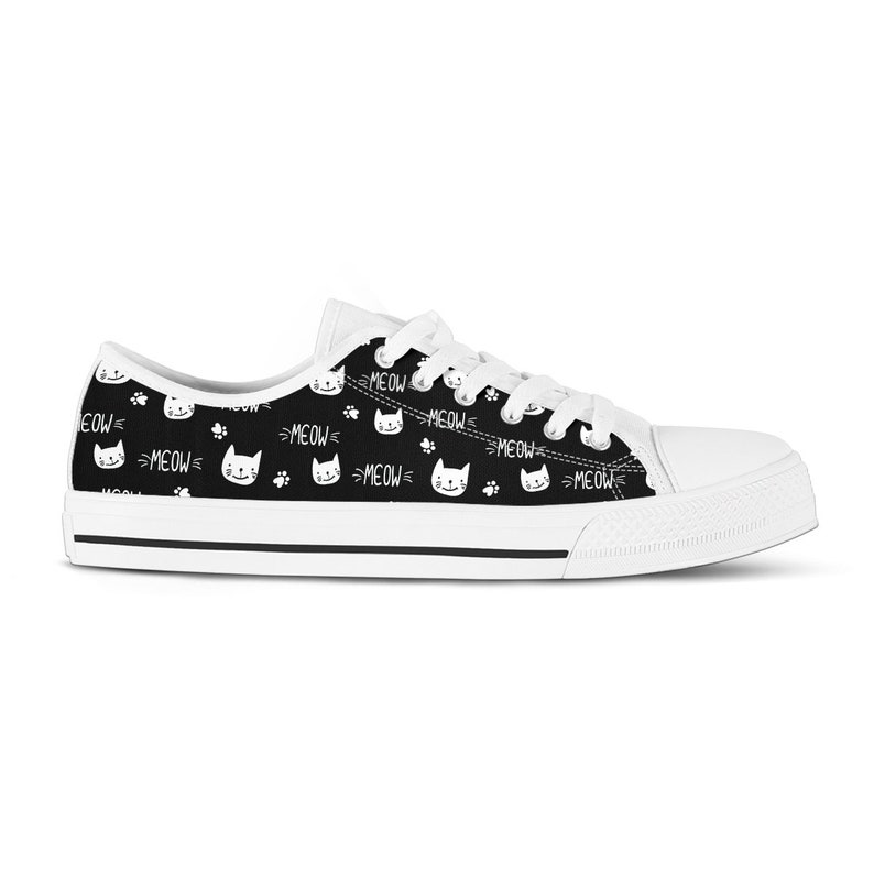 22ab4abb72415 Cat Shoes Black Cat Sneakers Vegan Tennis Shoes Cat Lover Gift for Mom  Girlfriend Birthday Gift for Her Crazy Cat Lady Sister Gift