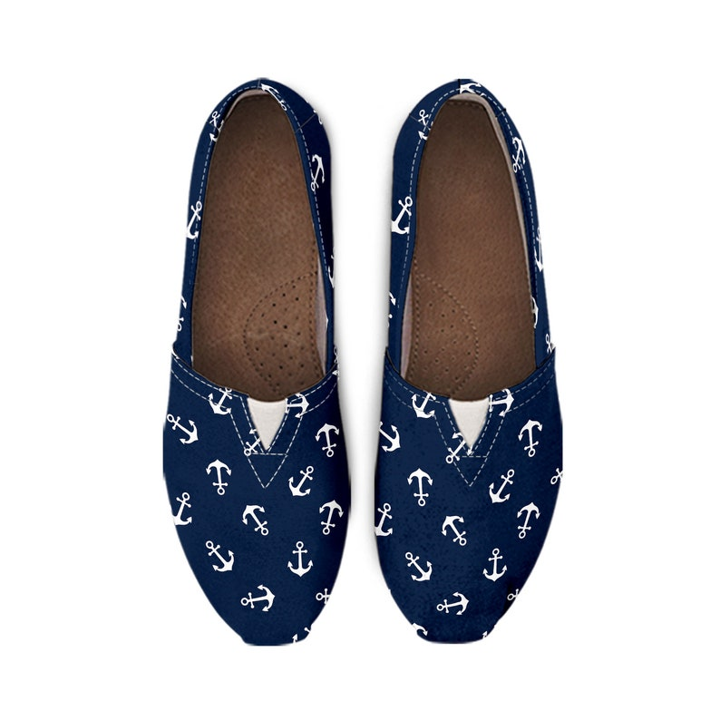 casual slip on loafers Anchor print canvas shoes