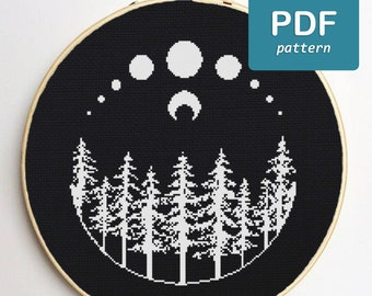 Moon Forest Cross Stitch Pattern Black and White Cross Stitch Witchy Cross Stitch Occult Cross Stitch Full Moon Nature Cross Stitch