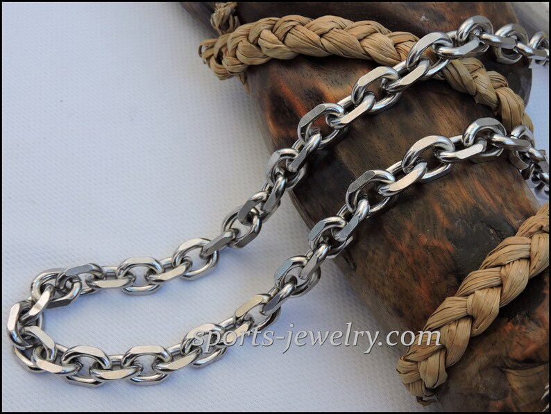 Stainless steel chain necklace 0.47 and 0.31 inch
