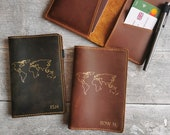 Customised Distressed Leather Passport Cover with World Map Name Travel Wallet Passport Holder Father 39 s Day Present Gift for Him