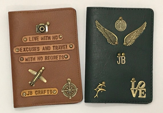 c7a19eec31c Customised Personal Passport Cover with Name Charms and Quotes   Etsy