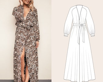 Long Dressing Gown Robe or Maternity Dress PDF Sewing Pattern and Tutorial sizes 34-44 in english