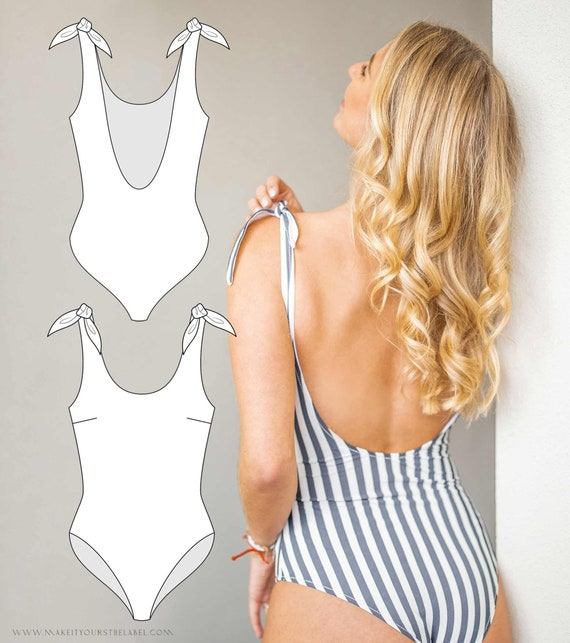 PDF Sewing Pattern Monokini  PDF File with Ebook sewing instructions