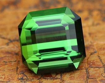 5.87ct Green Tourmaline | Square Emerald Cut | Faceted | Natural | Grass Green | Loose Tourmaline