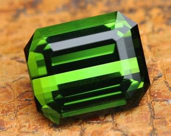 7.61ct Green Tourmaline | Emerald Cut | Natural | Faceted | Green Stone | Loose Tourmaline | Grass Green