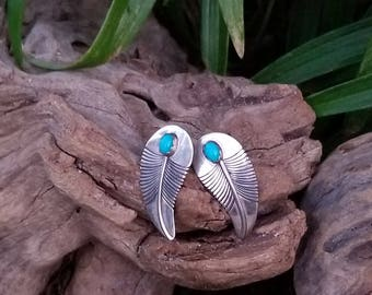 Sterling Silver Leaf earrings with Turquoise