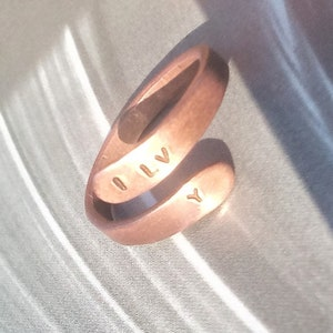 Natural Boho Copper Ring Heart Engraved Text Adjustable  Antique Love Unisex Oxidized Copper  Hammered Natural Wave Band Ring Bronze Patina
