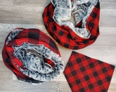 Dog Bandana and Optional Owner Reversible Infiniti Scarf Red Plaids Buffalo Plaid