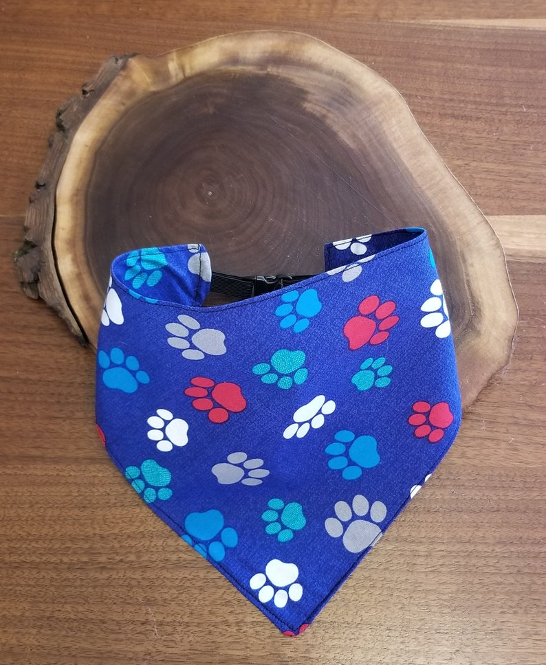 Bright Blue with Paws DogPet Bandana in Various SizesStyles