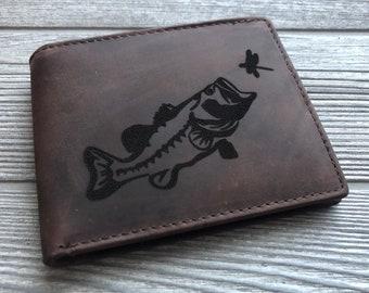 Fish Deer Hunting and Fishing Mens Bifold Pu Leather Wallet RFID Blocking