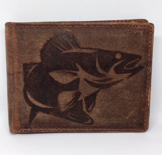 Personalized Fish Genuine Leather Mens Bi-fold Wallet