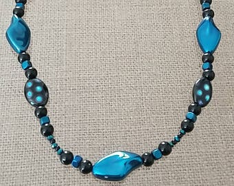 Blue and Black beaded necklace