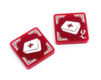 2x First Aid tokens (double sided) for Arkham Horror LCG