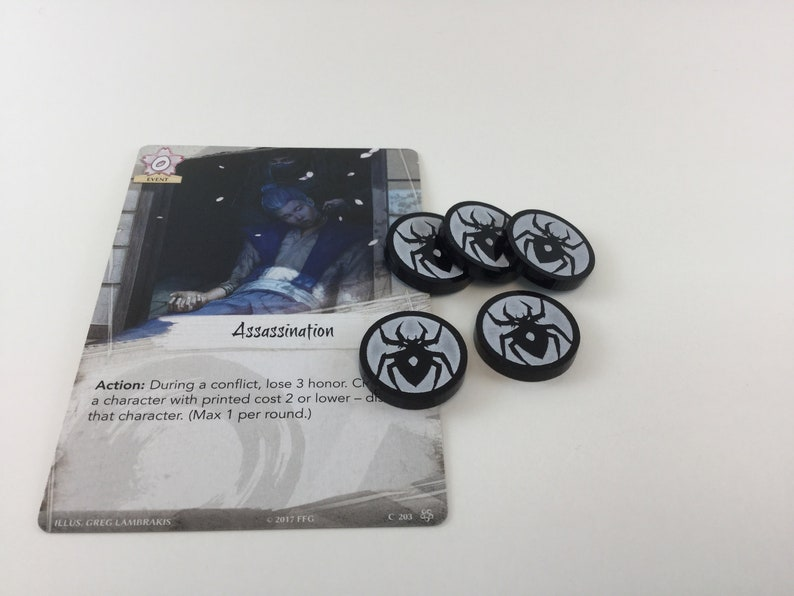 Legend of the Five Rings L5R Acrylic spider clan fate tokens