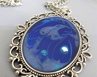 Blue Hand painted Pendant with Swarovski crystal
