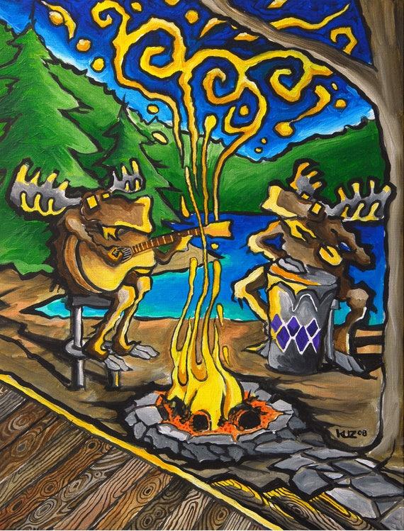 Man Cave Mountain Decor Cocktail Lake House Grilling Wall Art Moose Wood Art Dad Rustic Decor Dad Cosmic Moose Art