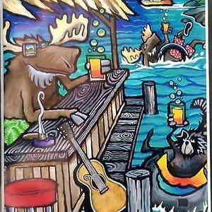 Moose Art Bear Decor Wildlife Decor Cabin Decor Lake Decor Print Wall Art Pontoon Boat Cocktail Art Party Barge Pontoon Toast