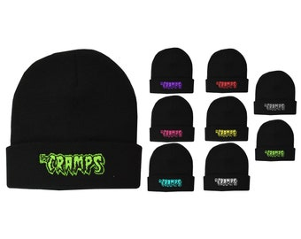 THE CRAMPS KNITTED BEANIE HAT WINTER PSYCHOBILLY GARAGE HORROR EMBROIDERED RED
