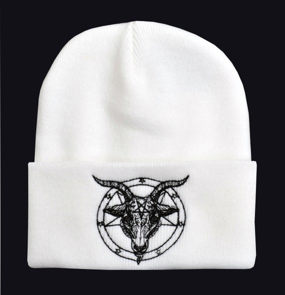 BAPHOMET BEANIE SKI HAT EMBROIDERED PENTAGRAM SATANTIC OCCULT CHURCH SATAN GOTH
