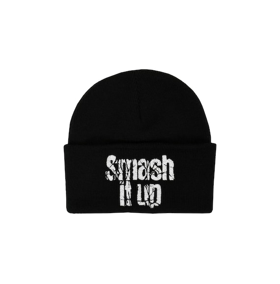 CAPTAIN SENSIBLE SMASH IT UP KNITTED EMBROIDERED BLACK BEANIE HAT WINTER PUNK
