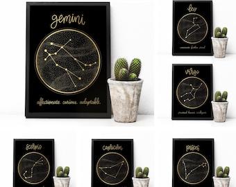 Zodiac Sign Foil Print