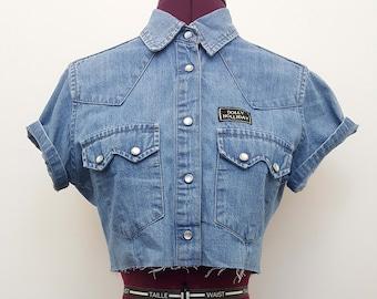 Vintage/Retro crop Jinglers denim top/shirt.  Size M. Nineties/Country/hipster/dolly parton/cute/kawaii/pin up