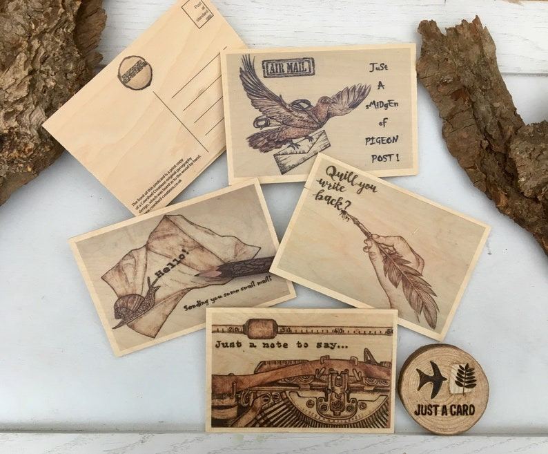 wooden postcards / set of four / woodburning art prints / image 0