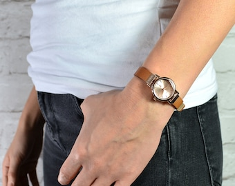 Ladies Petite Leather Strap Watch