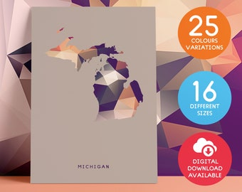 Michigan art print, Michigan map art, USA poster, Typography map, Michigan geometric map, Map of Michigan, Map Poster, Minimalist map