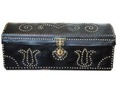 18th 19th Century Portuguese Studded Leather Dome Top Trunk