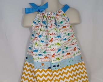 Girls Love Dinosaurs Too Pillowcase Dress Custom Made with Matching Hair Bow