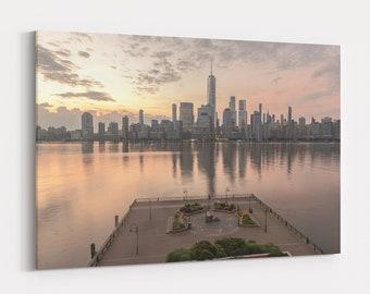 New York City Skyline Wall Art, NYC Photography Print and Canvas, Home Decor, Large Wall Art, Lower Manhattan Hudson River Sunrise