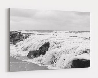 Stormy Ocean Waves Print and Canvas, Coastal Photography, Large Abstract Beach Wall Art, Free Shipping
