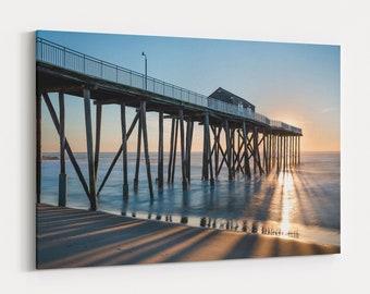 Fishing Pier Ocean Sunrise, Coastal Photography, Large Canvas Wall Art, Jersey Shore, Free Shipping