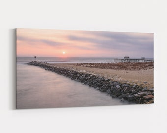 Ocean Inlet Sunrise, Coastal Photography, Panoramic Large Canvas Wall Art and Print, Jersey Shore, Free Shipping